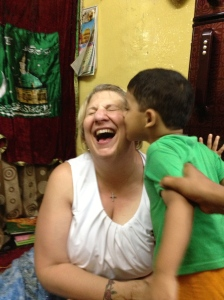 Getting a kiss (actually a little nibble) from Ali.