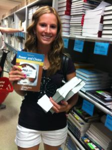 Becky getting her books at the start of her freshman year.
